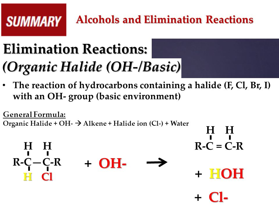 Elimination Reactions: (Organic Halide (OH-/Basic)