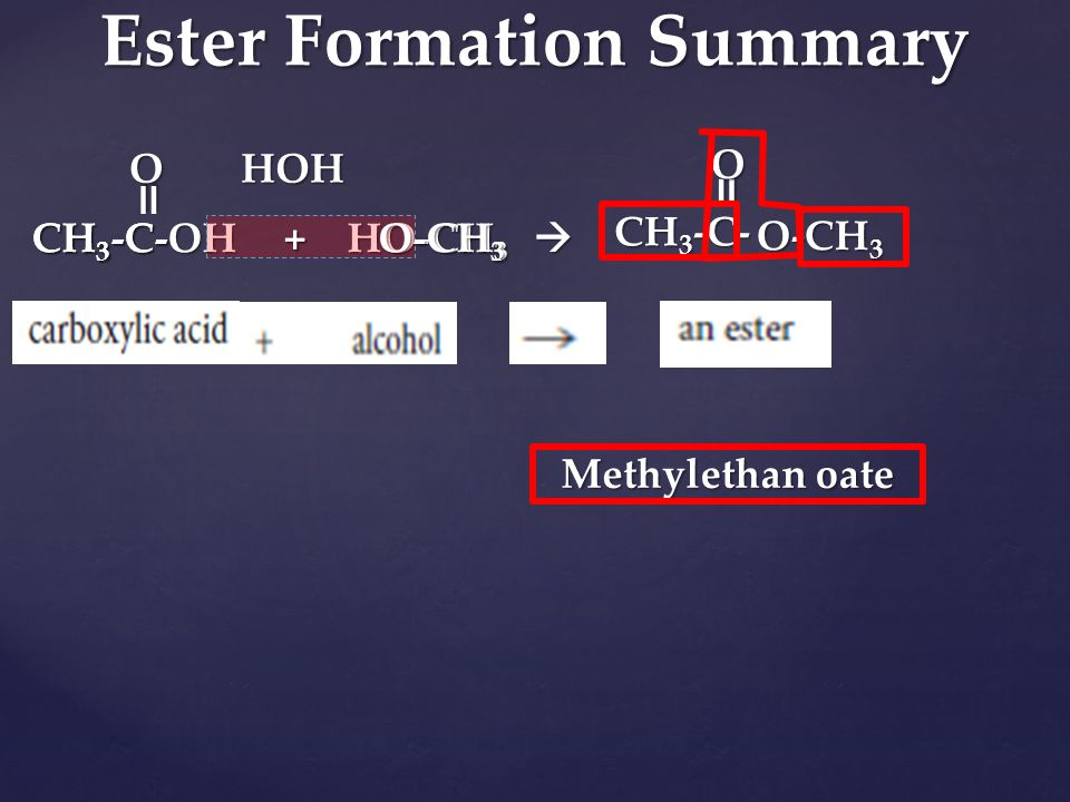 Ester Formation Summary
