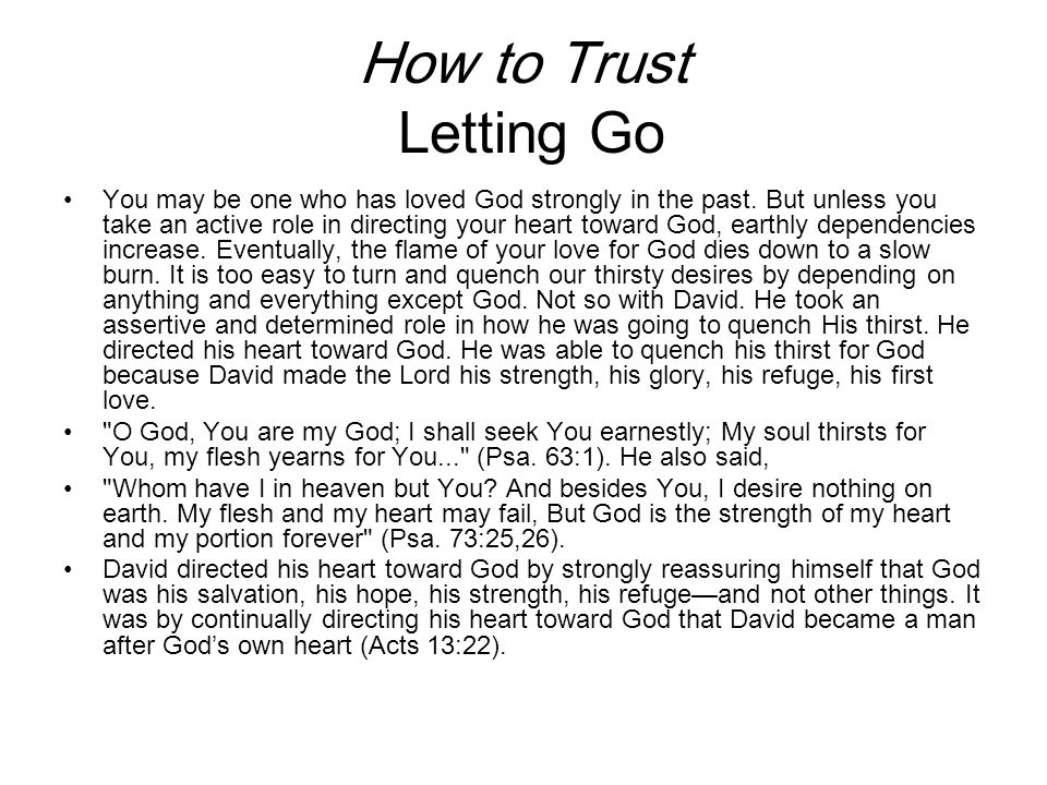 How to Trust Letting Go