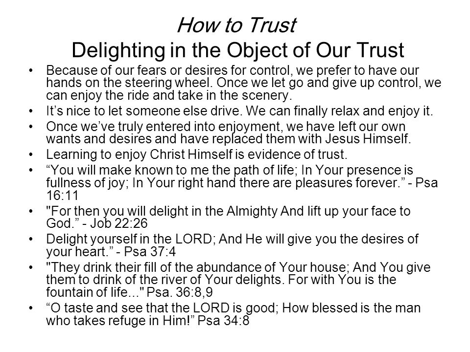 How to Trust Delighting in the Object of Our Trust