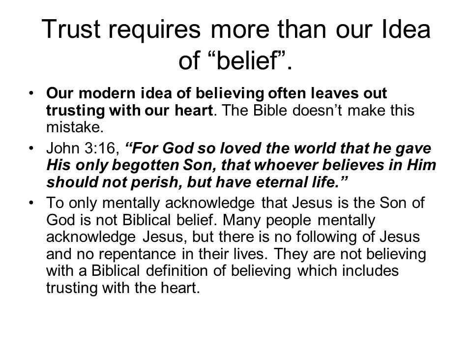 Trust requires more than our Idea of belief .
