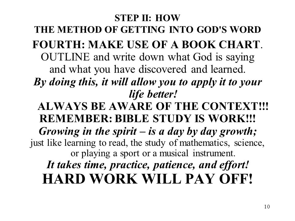 STEP II: HOW THE METHOD OF GETTING INTO GOD S WORD