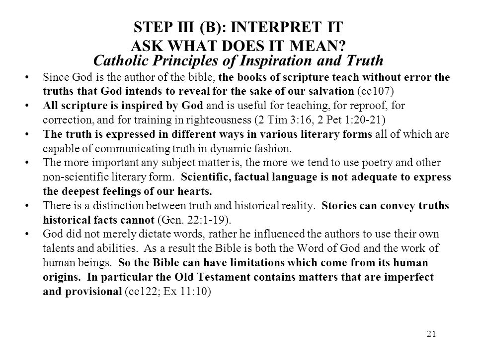STEP III (B): INTERPRET IT ASK WHAT DOES IT MEAN