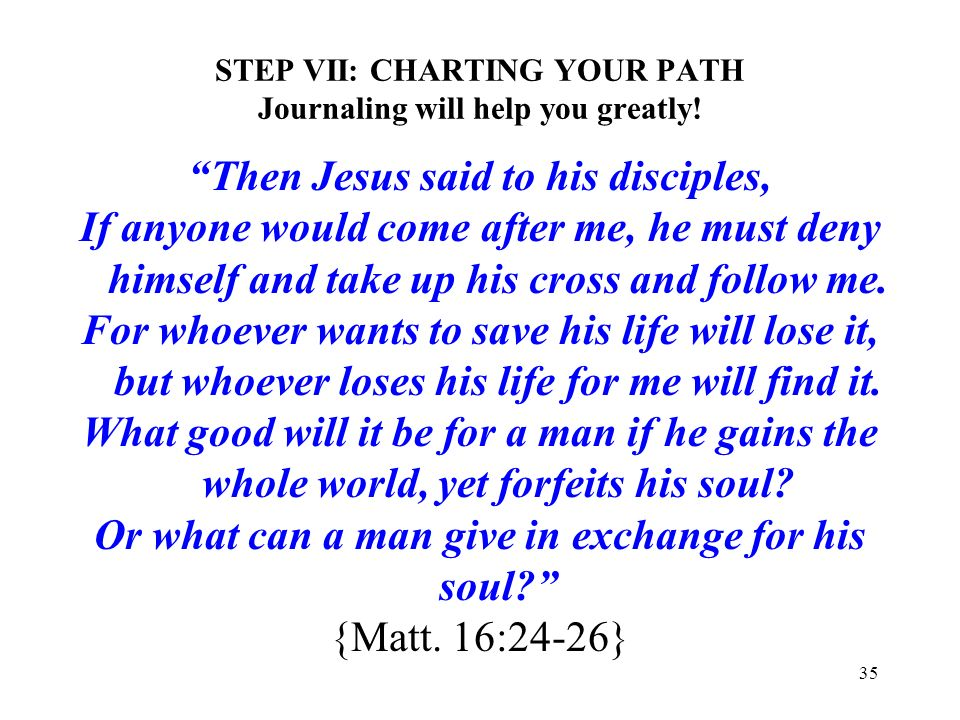 STEP VII: CHARTING YOUR PATH Journaling will help you greatly!