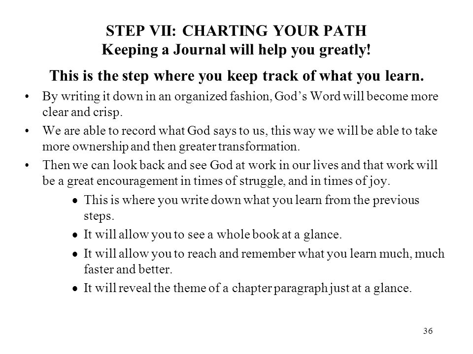 STEP VII: CHARTING YOUR PATH Keeping a Journal will help you greatly!