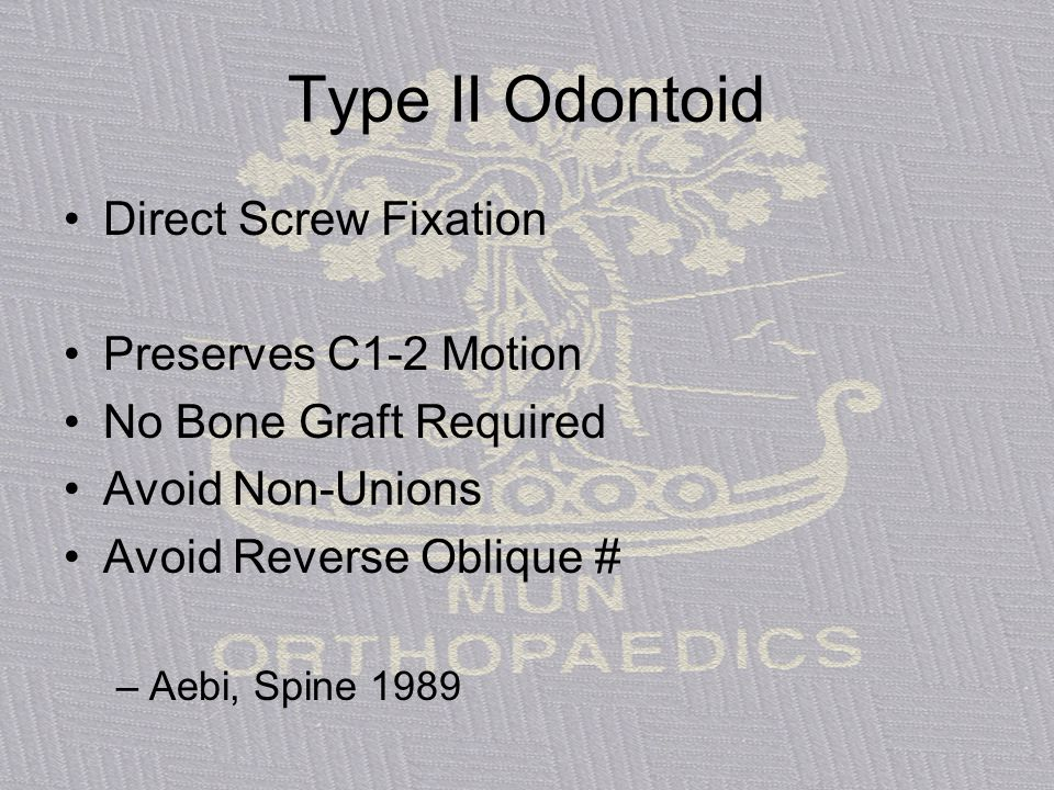 Type II Odontoid Direct Screw Fixation Preserves C1-2 Motion