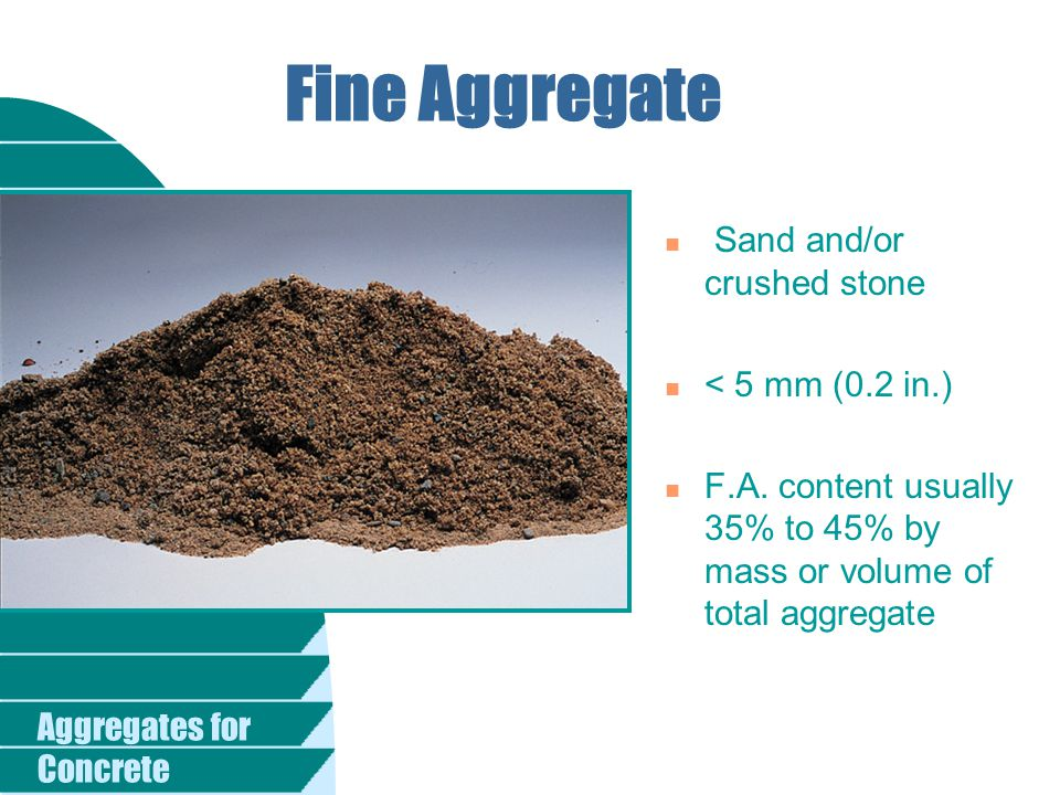 Fine Aggregate Sand and/or crushed stone < 5 mm (0.2 in.)
