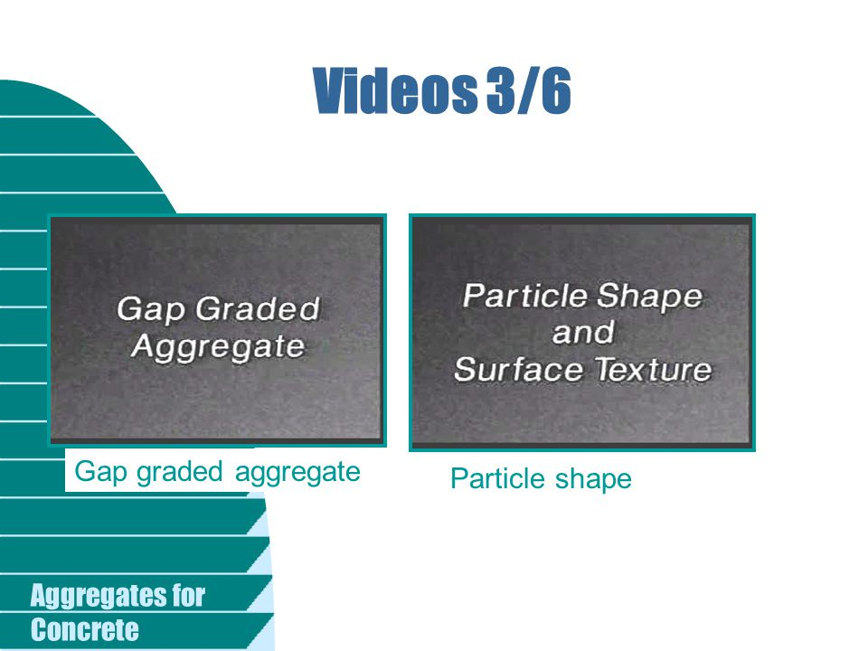 Videos 3/6 Gap graded aggregate Particle shape