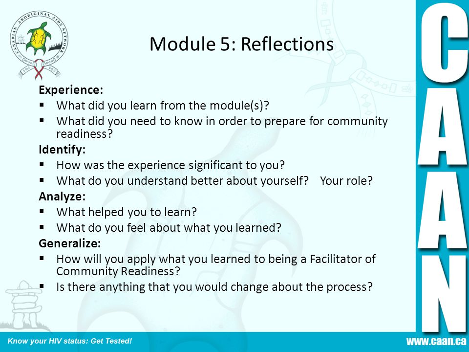 Module 5: Reflections Experience: