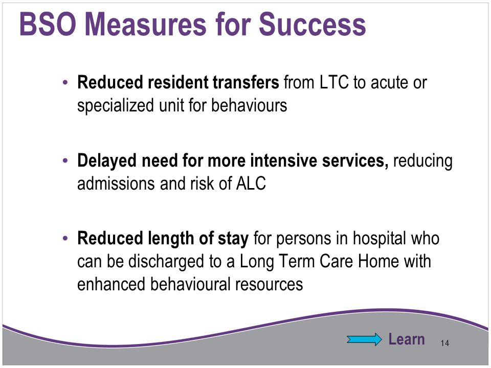 BSO Measures for Success