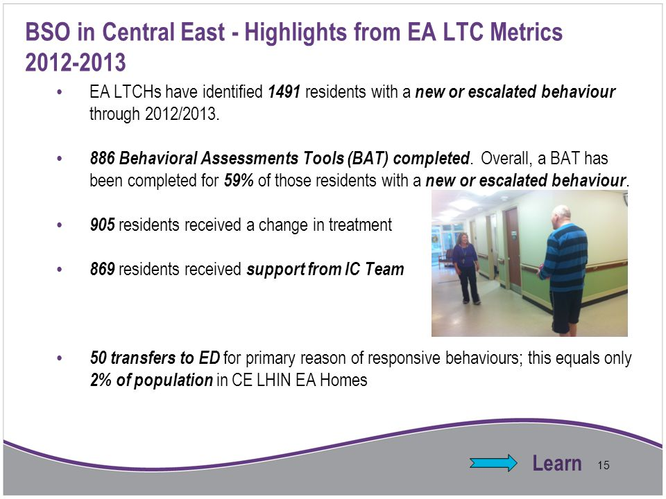 BSO in Central East - Highlights from EA LTC Metrics 2012-2013