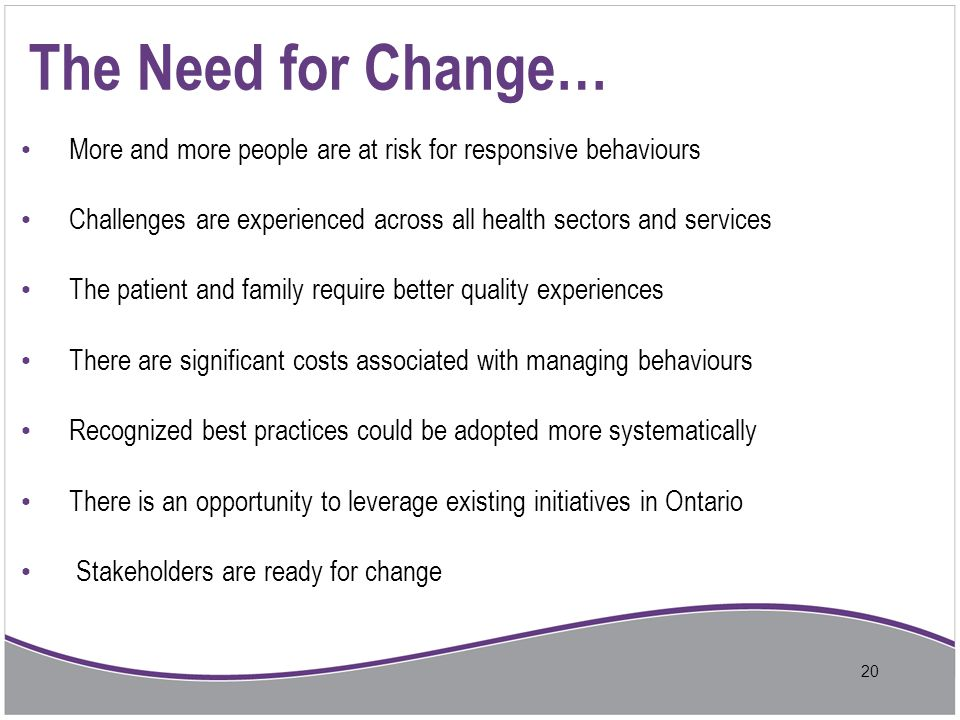 The Need for Change… More and more people are at risk for responsive behaviours. Challenges are experienced across all health sectors and services.