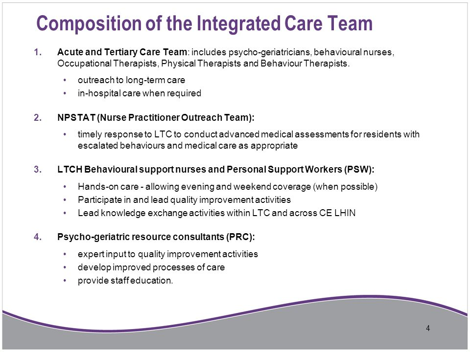 Composition of the Integrated Care Team