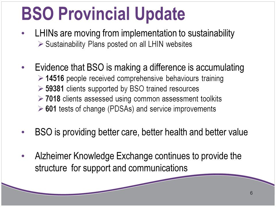 BSO Provincial Update LHINs are moving from implementation to sustainability. Sustainability Plans posted on all LHIN websites.