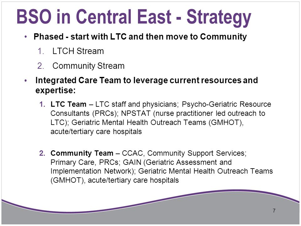 BSO in Central East - Strategy