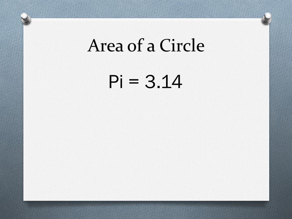 Area of a Circle Pi = 3.14