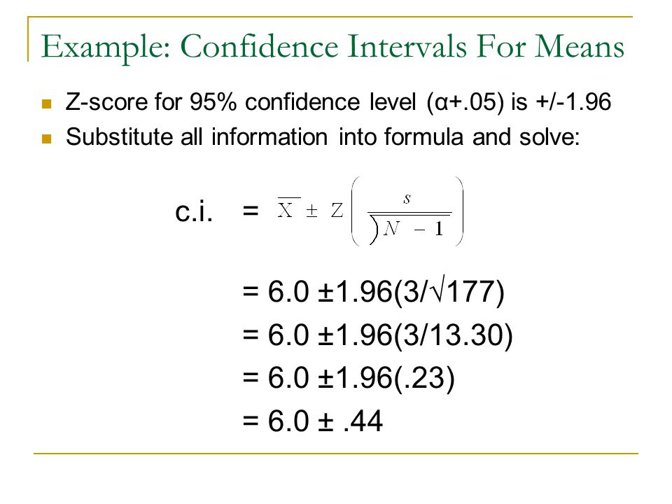 Example: Confidence Intervals For Means