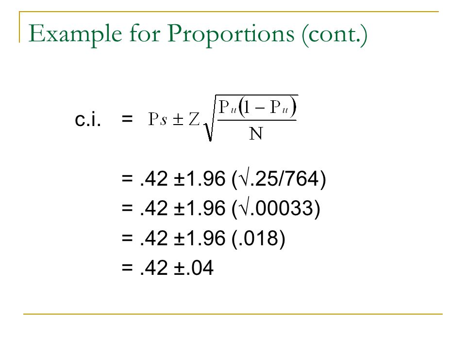 Example for Proportions (cont.)