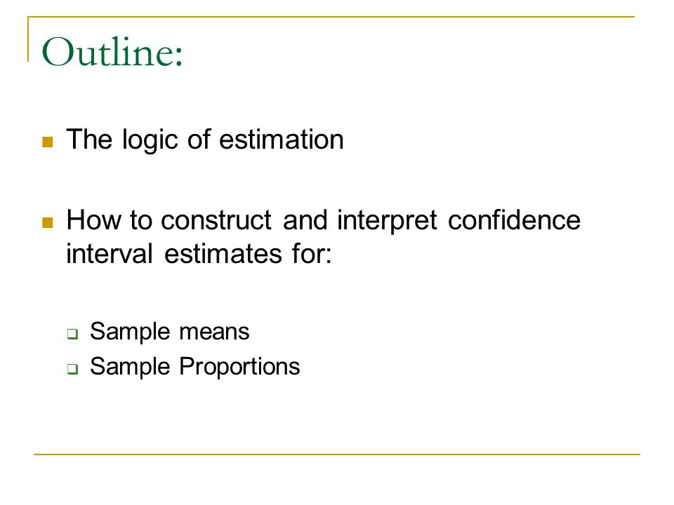 Outline: The logic of estimation