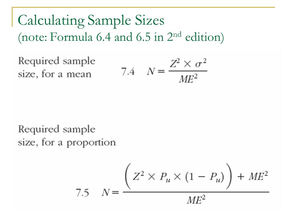 Calculating Sample Sizes (note: Formula 6.4 and 6.5 in 2nd edition)