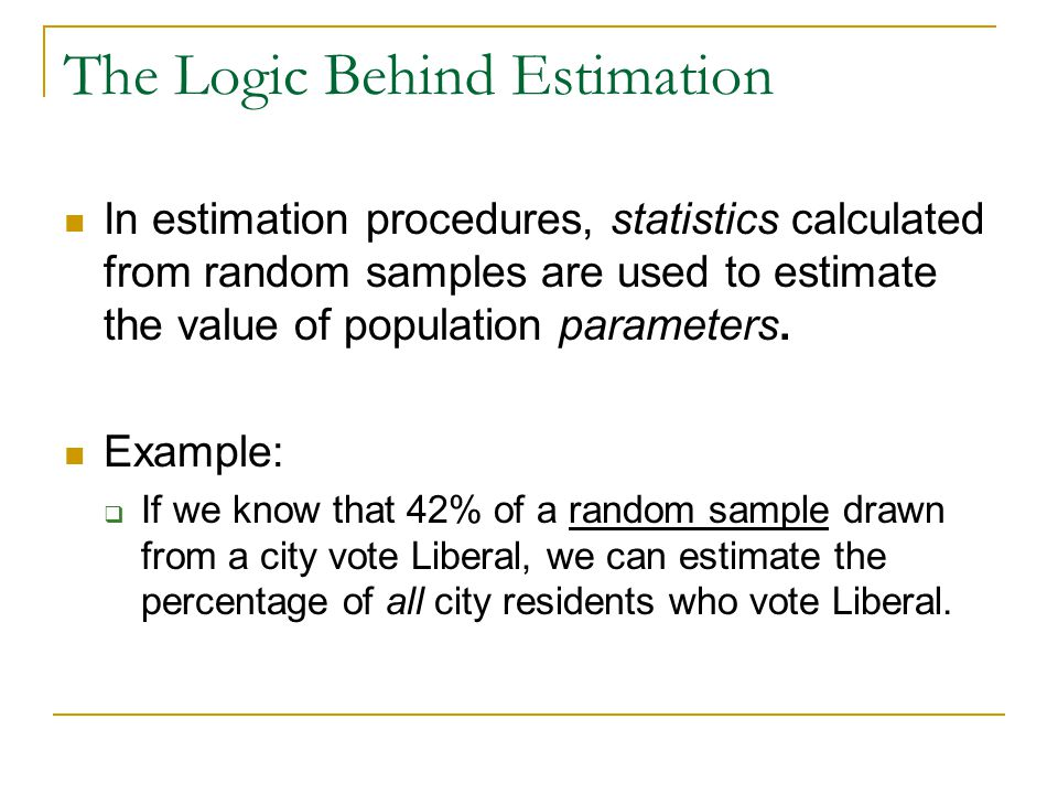 The Logic Behind Estimation