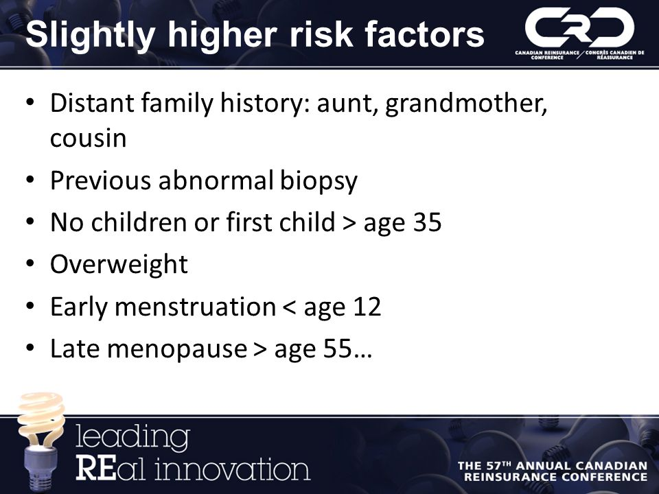 Slightly higher risk factors