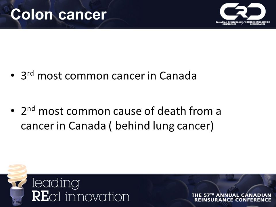 Colon cancer 3rd most common cancer in Canada