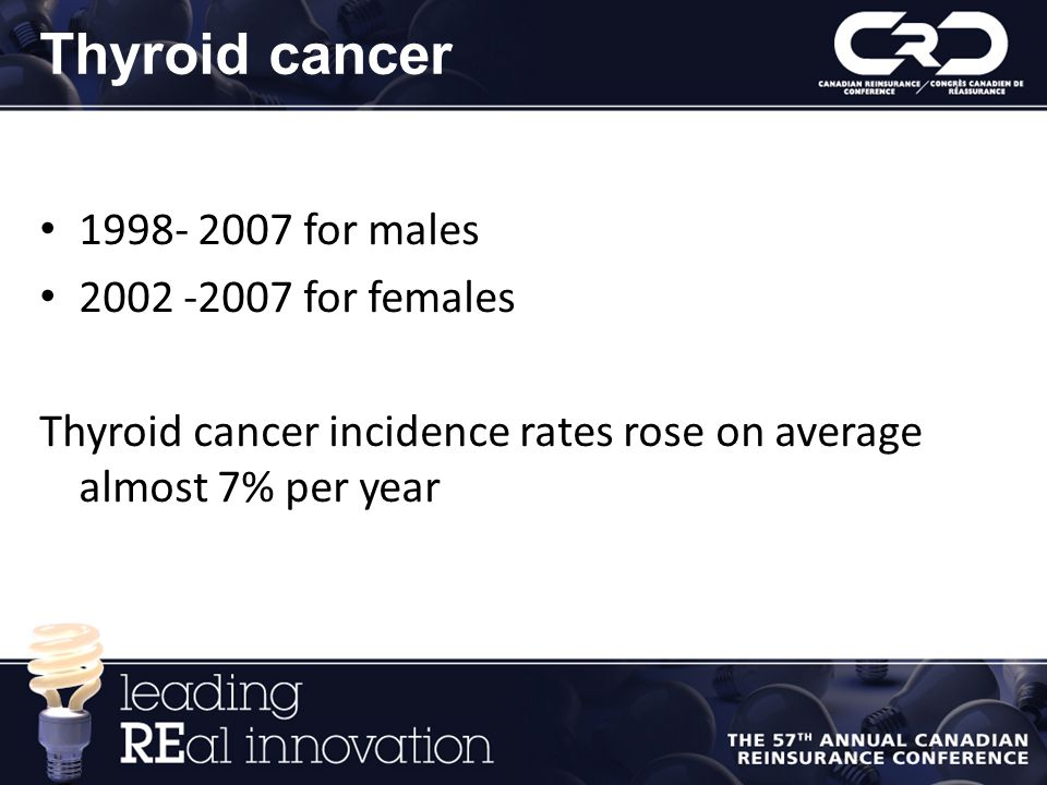 Thyroid cancer 1998- 2007 for males 2002 -2007 for females