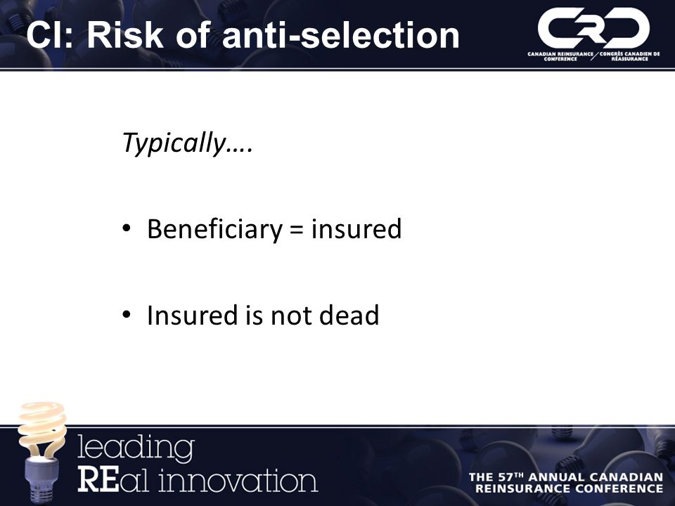CI: Risk of anti-selection