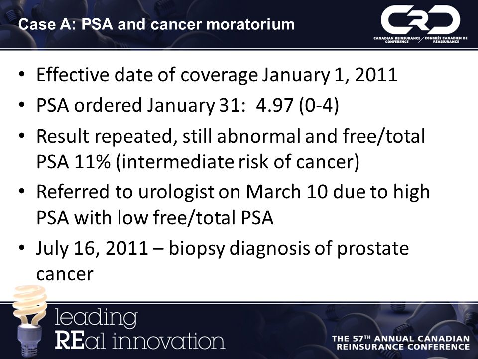 Case A: PSA and cancer moratorium