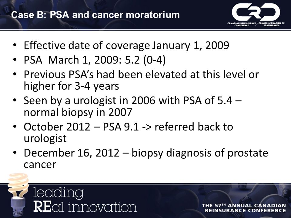 Case B: PSA and cancer moratorium