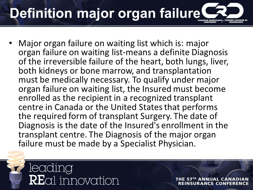 Definition major organ failure