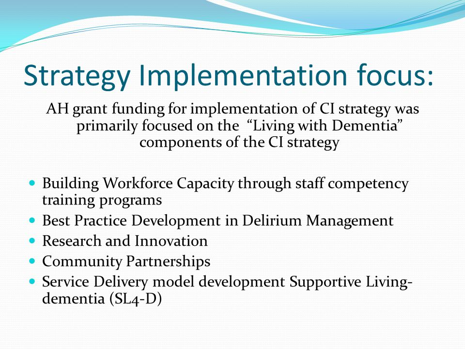 Strategy Implementation focus: