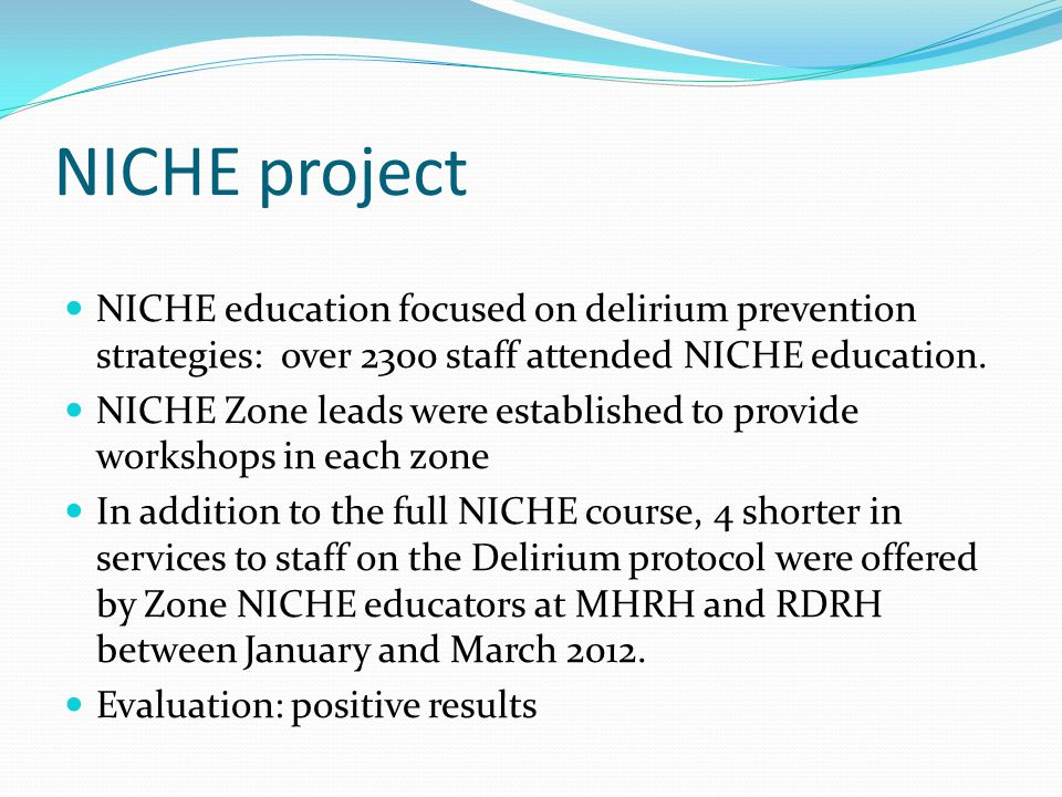 NICHE project NICHE education focused on delirium prevention strategies: over 2300 staff attended NICHE education.