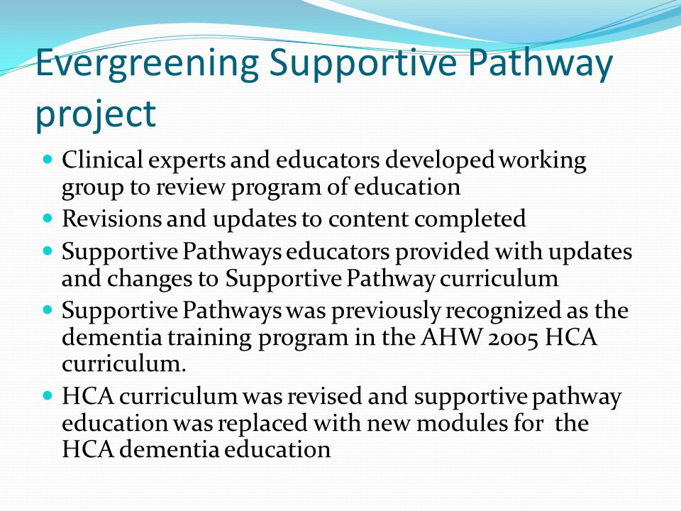 Evergreening Supportive Pathway project