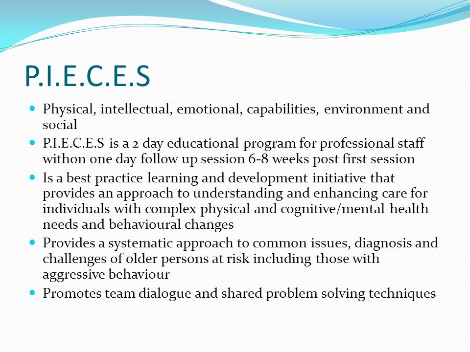 P.I.E.C.E.S Physical, intellectual, emotional, capabilities, environment and social.