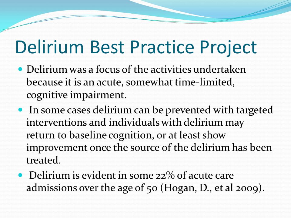 Delirium Best Practice Project