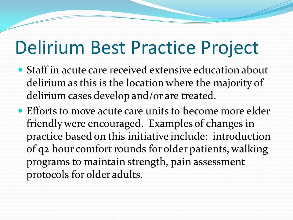 Delirium Best Practice Project