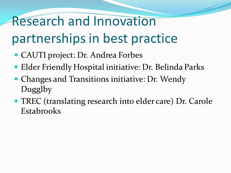 Research and Innovation partnerships in best practice