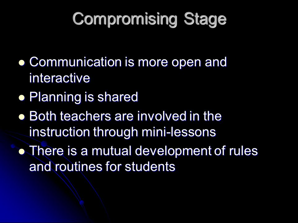 Compromising Stage Communication is more open and interactive