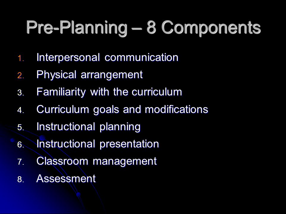 Pre-Planning – 8 Components