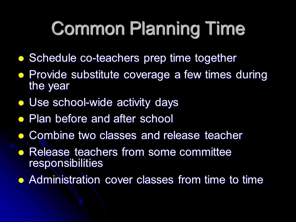 Common Planning Time Schedule co-teachers prep time together