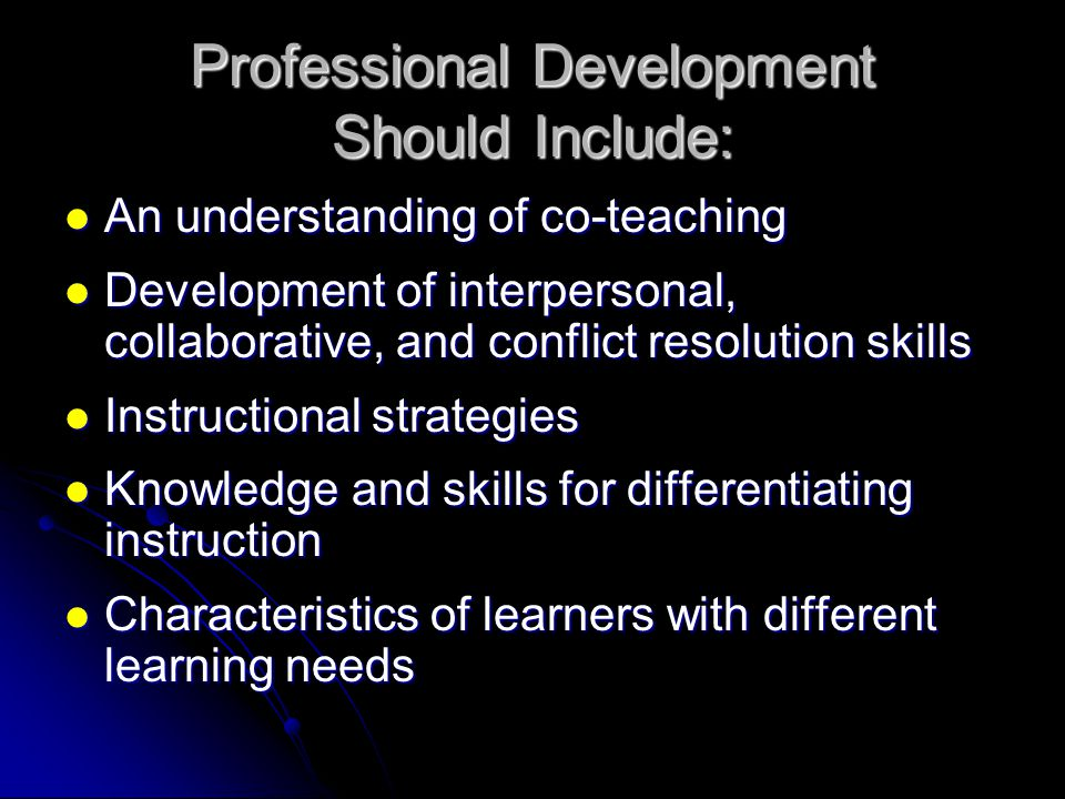 Professional Development Should Include:
