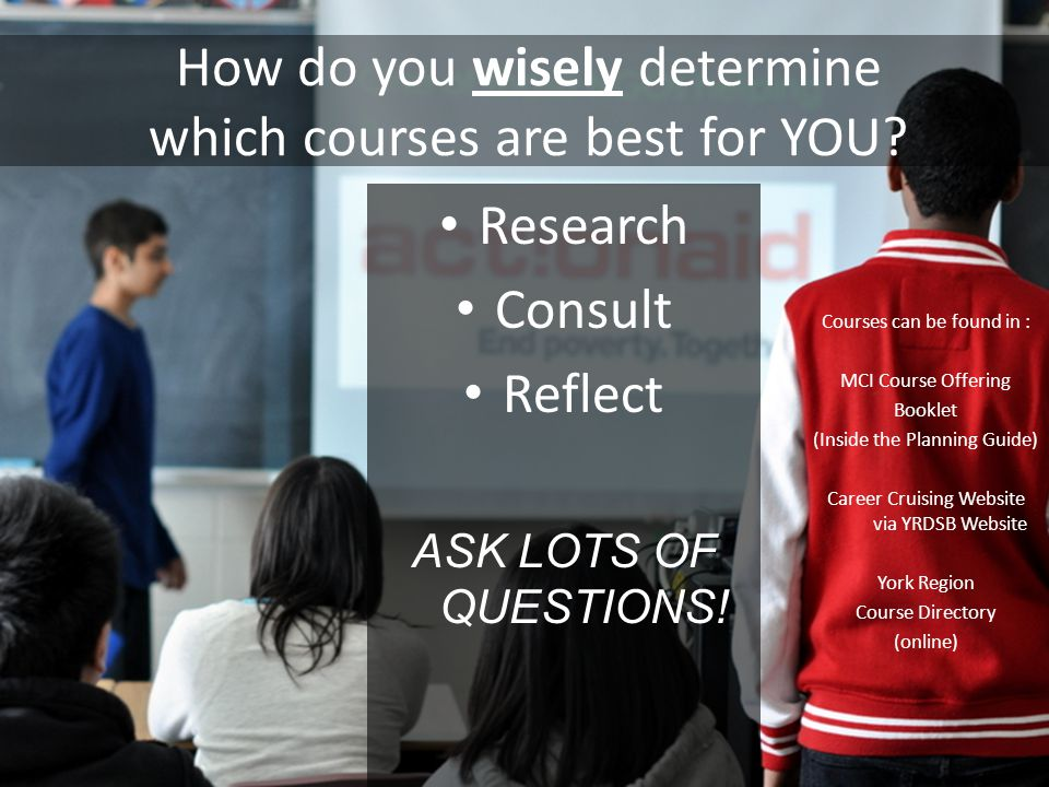 How do you wisely determine which courses are best for YOU