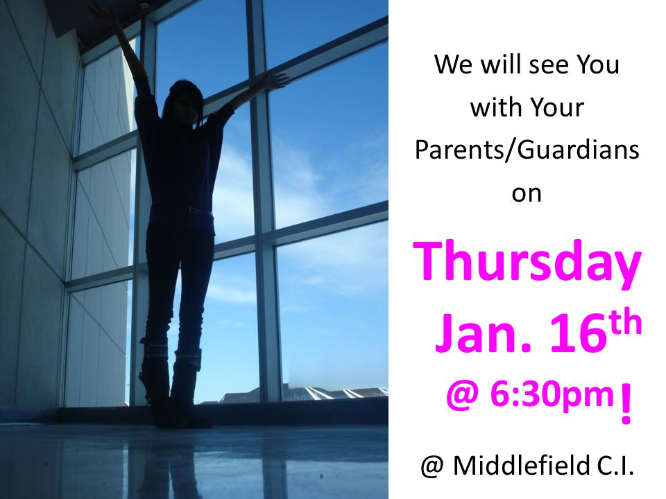 Thursday Jan. 16th @ 6:30pm! We will see You with Your
