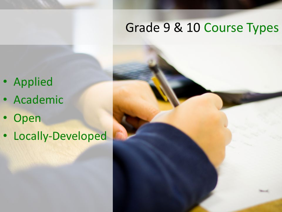 Applied Academic Open Locally-Developed Grade 9 & 10 Course Types