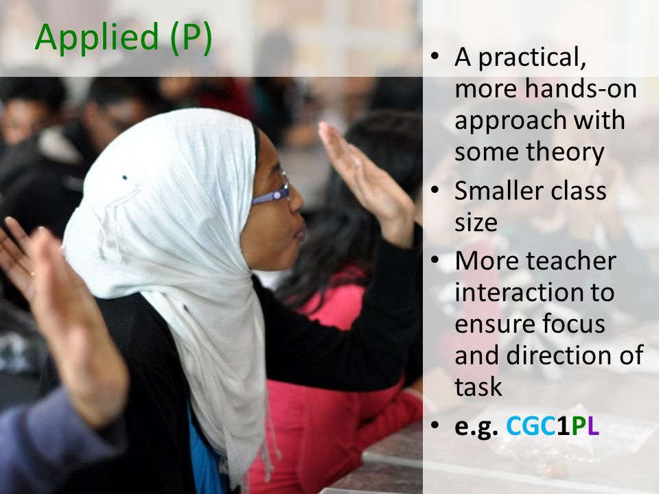 Applied (P) A practical, more hands-on approach with some theory