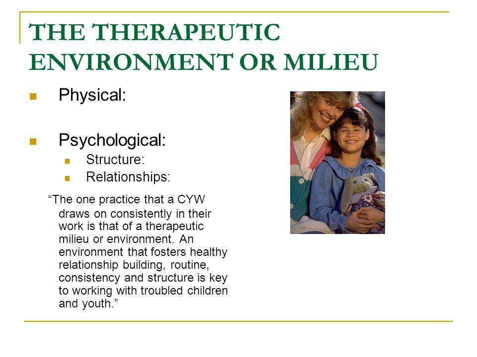 THE THERAPEUTIC ENVIRONMENT OR MILIEU