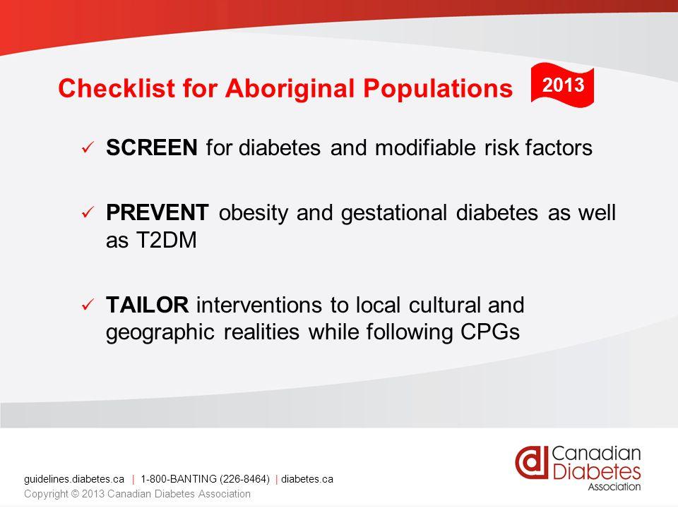 Checklist for Aboriginal Populations