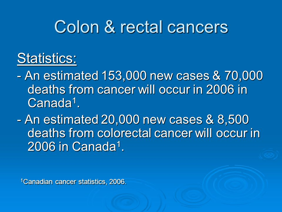 Colon & rectal cancers Statistics: